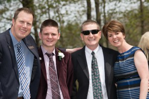 Chris Webb, Director of Admissions, with Jake Michaud '15 and his family