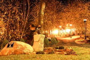 Bridgton Academy's Wolverine watches over the campus at night.